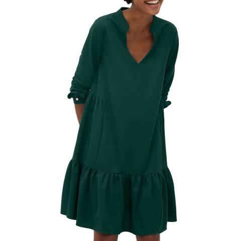Mango Green Fluted Hem Dress