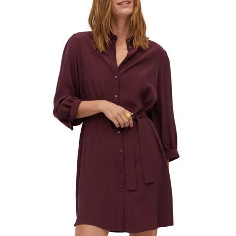 Mango Maroon Belt Shirt Dress