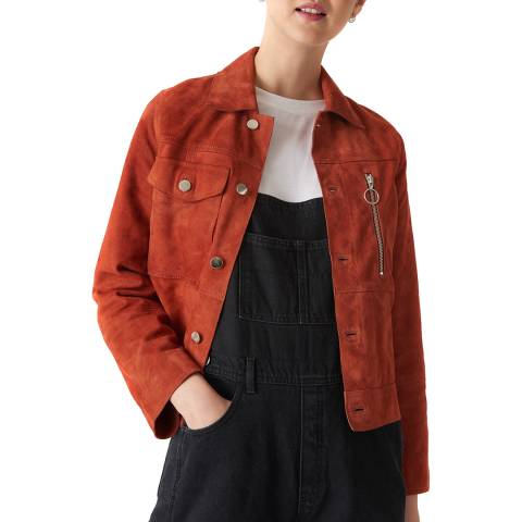 WHISTLES Rust Patch Pocket Suede Leather Jacket