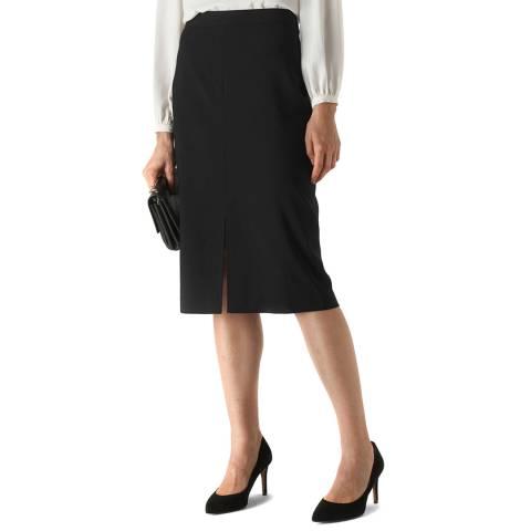 WHISTLES Black Anna Split Front Wool Blend Skirt