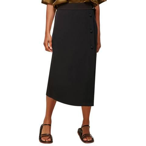 WHISTLES Black Belted Ponte Wrap Skirt