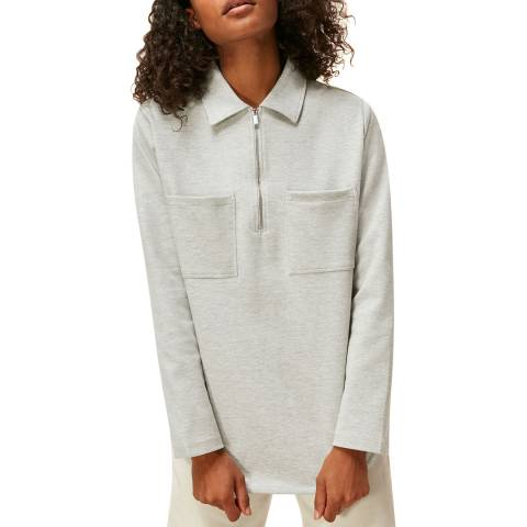 WHISTLES Grey Jersey Cotton Overshirt
