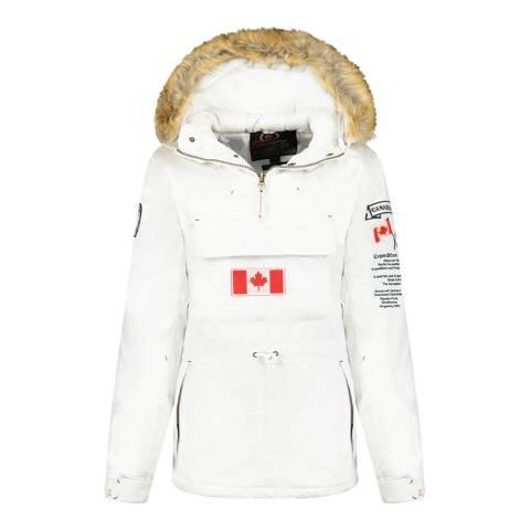 Canadian Peak White Pull Over Hooded Lightweight Jacket