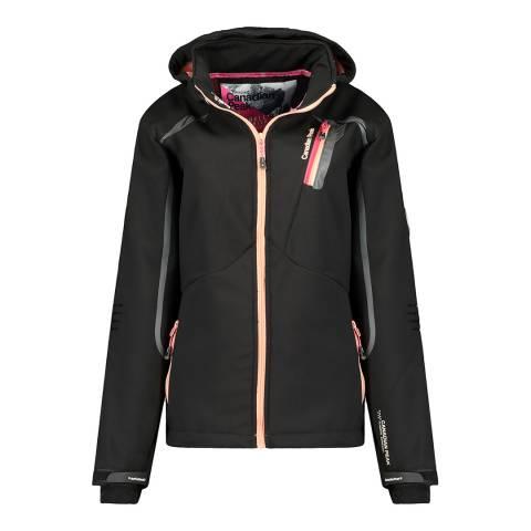 Canadian Peak Black Softshell Hooded Lightweight Jacket