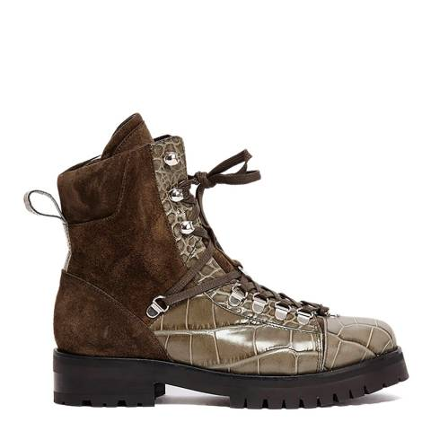 AllSaints Khaki Croc Print Fanka Hiking Boots