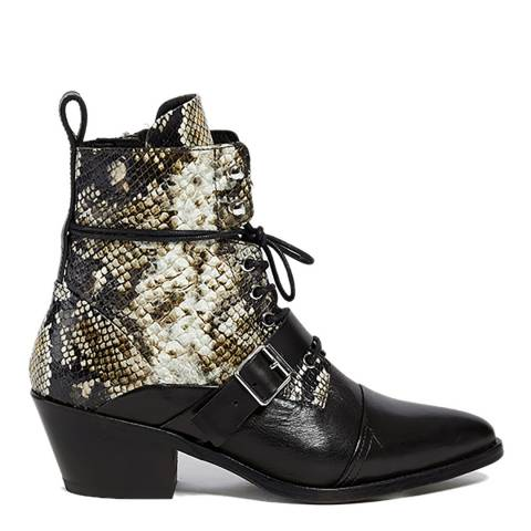 AllSaints Snake Print Leather Katy Ankle Boots