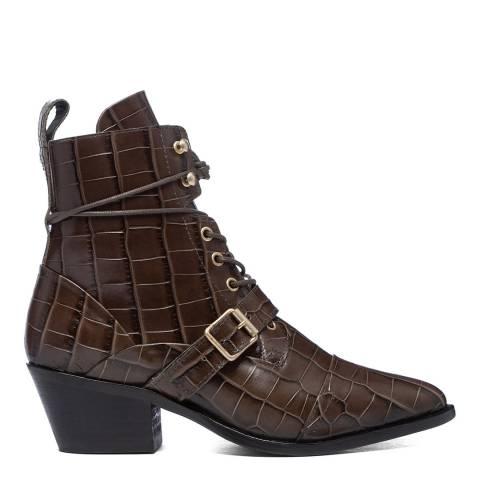 AllSaints Dark Khaki Croc Ankle Boots