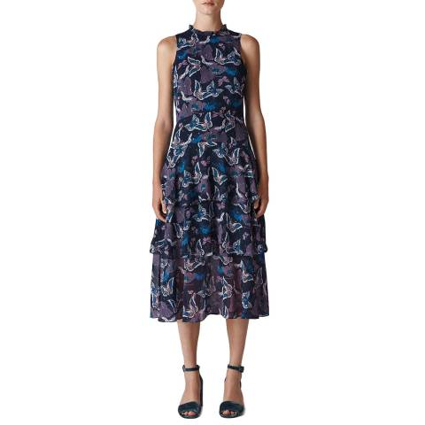 WHISTLES Multi Papillion Print Tiered Dress