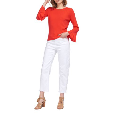 WHISTLES Coral Frill Sleeve Cotton Blend Jumper