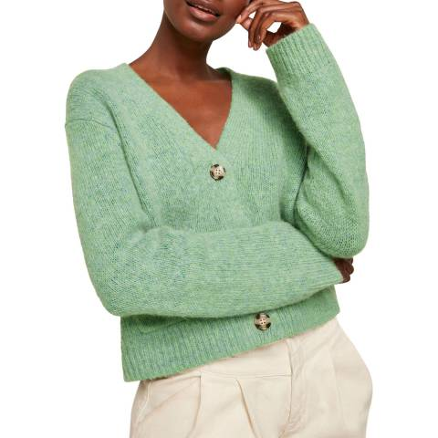 WHISTLES Pale Green Erica Flecked Cardigan