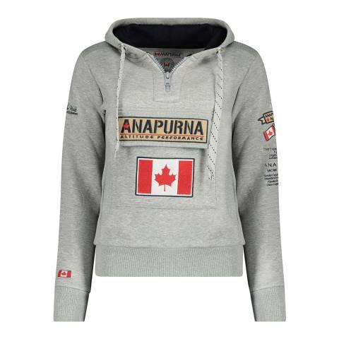 Anapurna Grey Cotton Blend Logo Hoodie