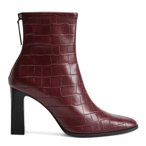 Mango Maroon Croc Effect Punto Ankle Boots