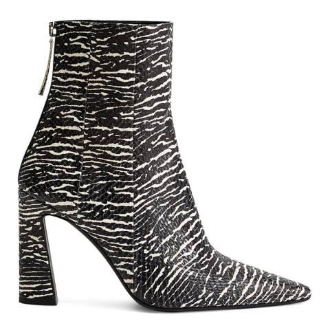 Mango Zebra Print Leather Juno Ankle Boots