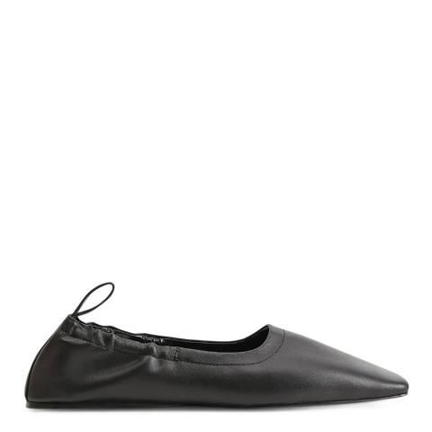 Mango Black Leather Glovo Flat Shoes