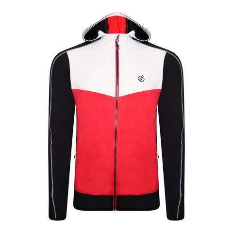 Dare2B White/Red Full Zip Stretch Midlayer