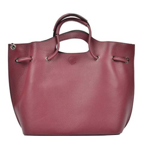 Mangotti Burgundy Top Handle Leather Bag