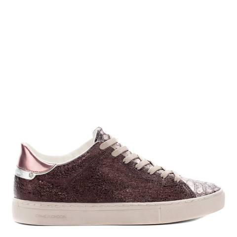 Crime London Burgundy Glitter Low Top Sneakers