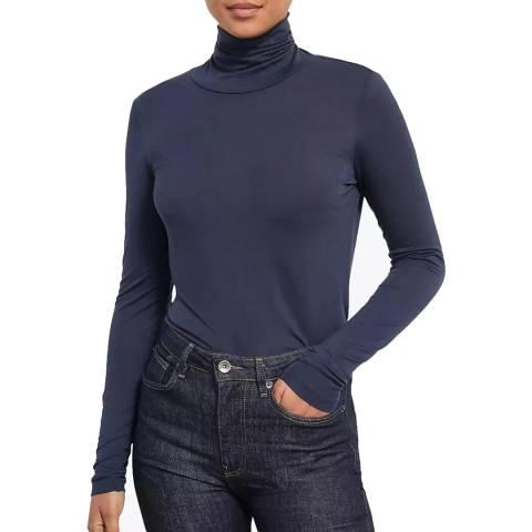 Jigsaw Navy Wool Jersey Roll Neck Top