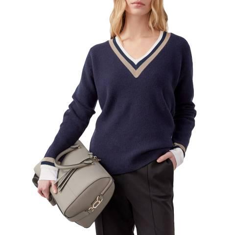 Jigsaw Navy Varsity Stripe Wool Jumper