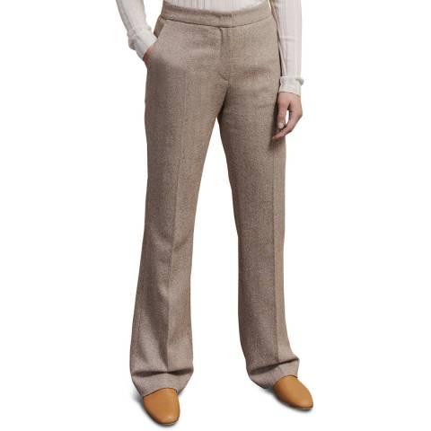 Jigsaw Beige Walter Herringbone Stretch Trousers