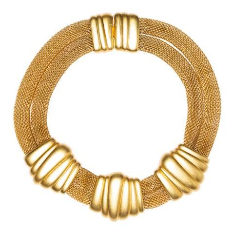 Monet Gold 1980 Deco Mesh Necklace