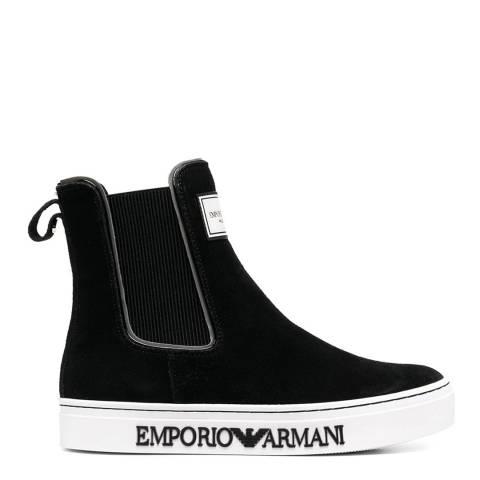 Emporio Armani Black/White Suede Chelsea Boots