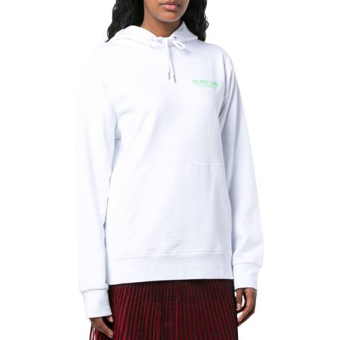 HELMUT LANG White Logo Print Hoodie