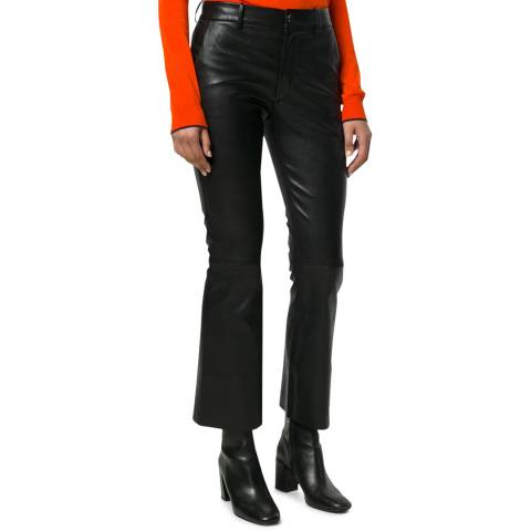 HELMUT LANG Black Leather Flare Trousers