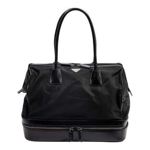 Prada Black Tessuto Top Zip Satchel Bag