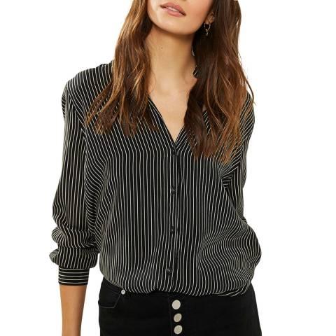 Mint Velvet Black Striped Longline Shirt