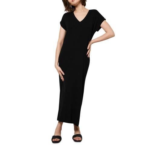 Mint Velvet Black Cotton Blend V-Neck Midi Dress