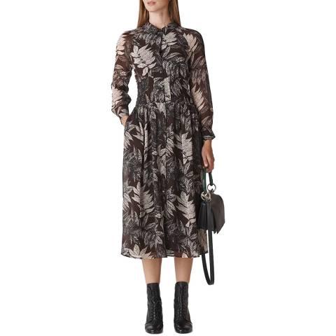 WHISTLES Brown Claris Floral Print Dress