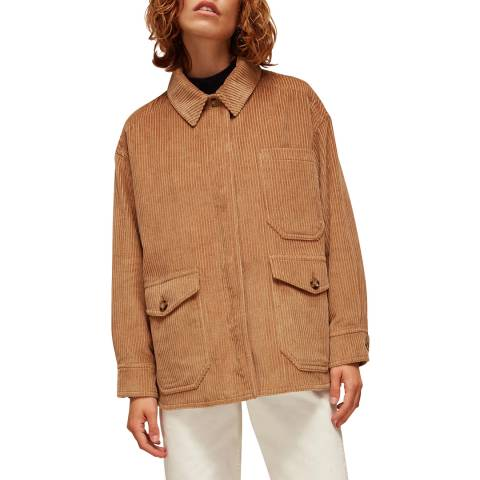 WHISTLES Camel Corduroy Button Up Jacket