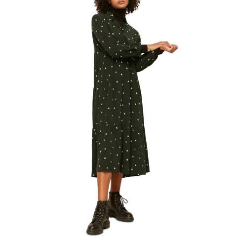 WHISTLES Dark Green Spot Enora Midi Dress