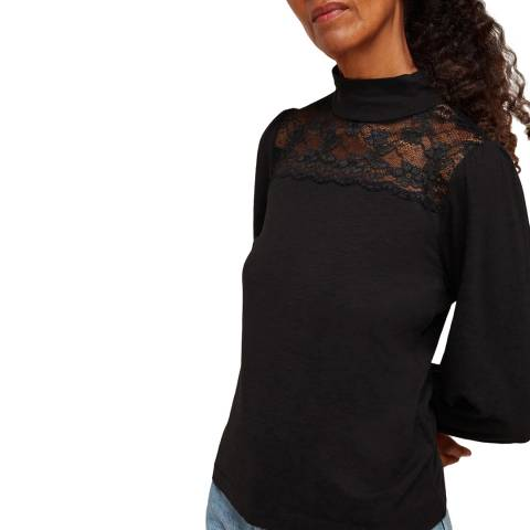 WHISTLES Black Lace Inserted Top