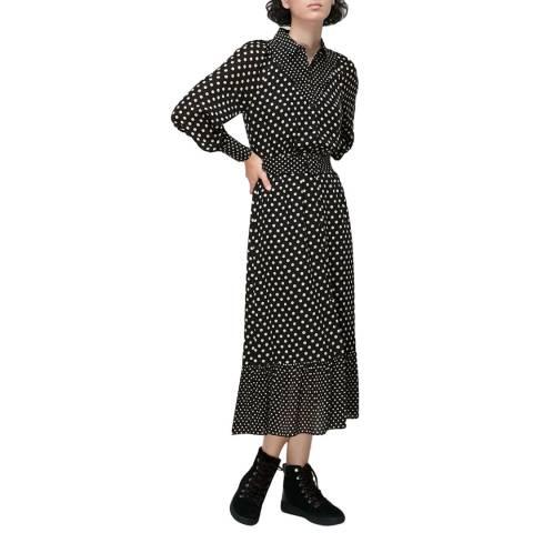 WHISTLES Black Spot Print Silk Shirt Dress