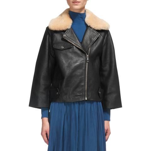 WHISTLES Black Eliza Wide Sleeve Leather Jacket