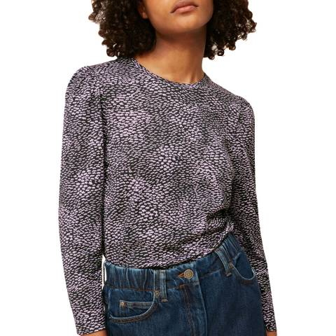 WHISTLES Lilac Ripple Puff Sleeve Print Top