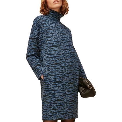 WHISTLES Blue Stripe Leopard Jersey Dress