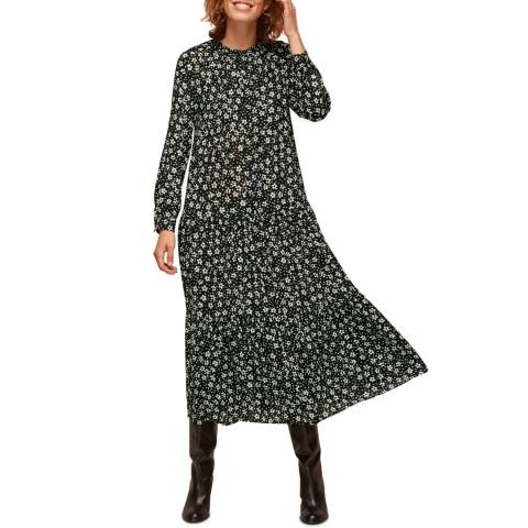 WHISTLES Black Daisy Spot Trapeze Dress