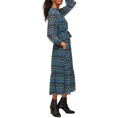 WHISTLES Blue Ikat Print Trapeze Dress