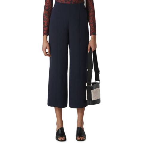 WHISTLES Navy Flat Front Crop Trousers