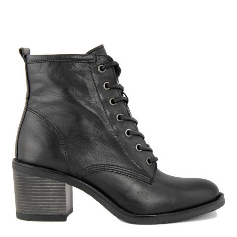 Cold-Out Black Leather Ankle Boot
