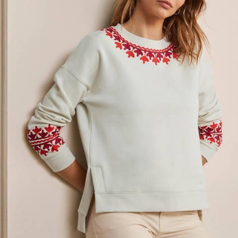 Boden Ivory Embroidered Cotton Blend Sweatshirt