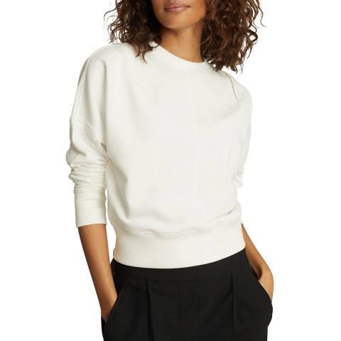 Reiss White Bridgette Cotton Blend Sweatshirt