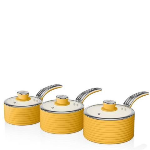Swan Yellow 3 Piece Retro Saucepan Set