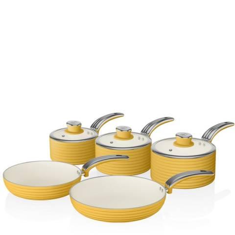 Swan Yellow 5 Piece Retro Pan Set