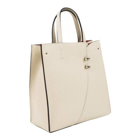 Mangotti Beige Leather Top Handle Bag