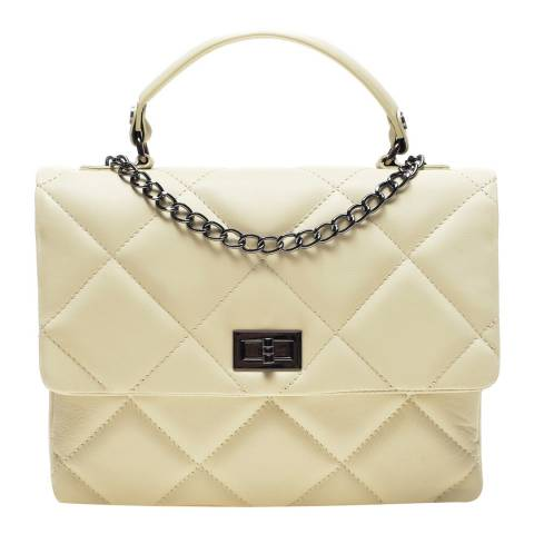 Carla Ferreri Beige Leather Top Handbag