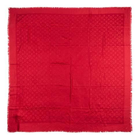 Louis Vuitton Red Monogram Shawl Scarf